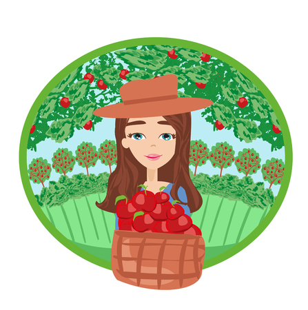 Apple picking - woman with apple