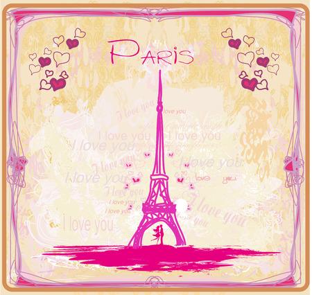 Ilustración de Romantic couple in Paris - abstract card - Imagen libre de derechos