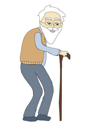 Illustration for The old man - isolated doodle illustration - Royalty Free Image