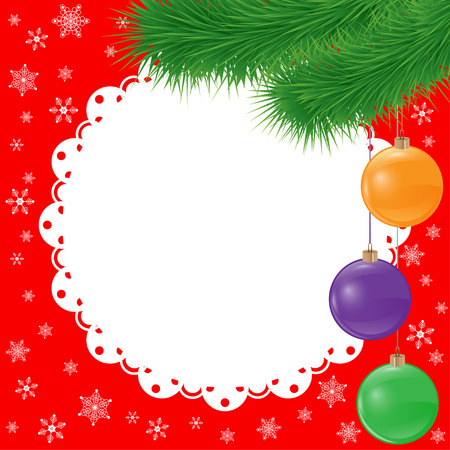 new year card background with spruce branch and glaring glass balls