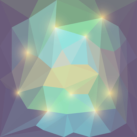 Abstract soft motley colored vector triangular geometric background with bright yellow glaring lights
