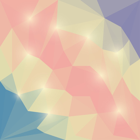 Abstract soft colored vector triangular geometric background with glaring beige lights