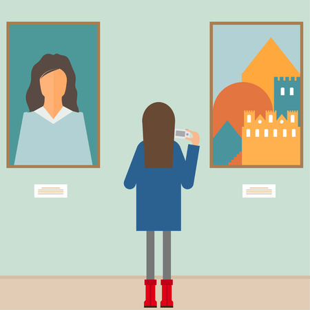 Illustration pour vector illustration in a flat style with a girl photographing the painting in the museum - image libre de droit