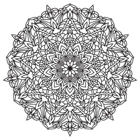 Illustration pour Hand drawn monochrome oriental ornamental lace round mandala for use in design t-shirt, vintage card, party invitation, poster, brochures, gift album, henna tattoo, scrapbook cover or pages - image libre de droit