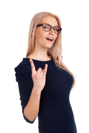 Blonde woman showing rock on gesture