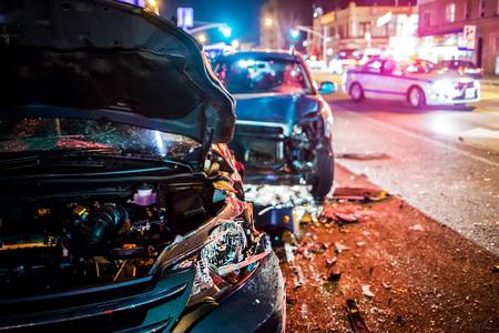Photo pour Car Crash with police - image libre de droit