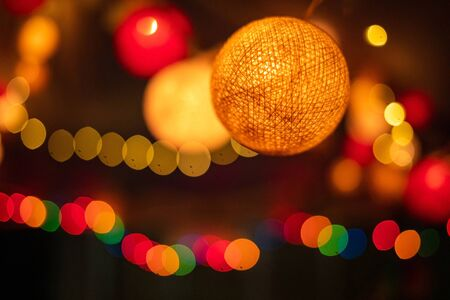 Photo for Abstract blurred of orange and red glittering shine bulbs lights background bokeh - Royalty Free Image