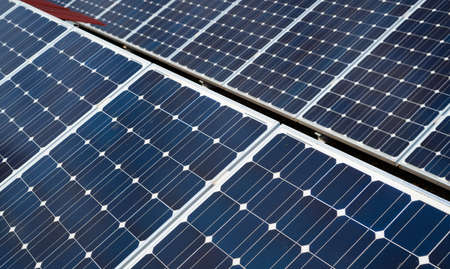 Photo for detail of solar panels. Concept of clean energy in the city - Royalty Free Image