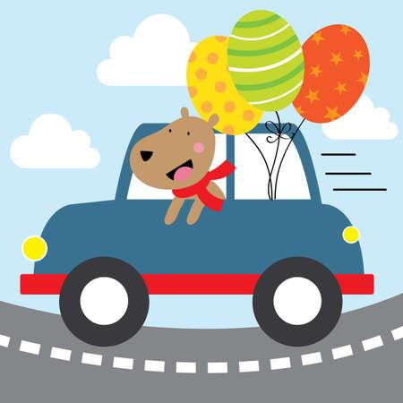 Illustration pour happy dog with blue car design - image libre de droit