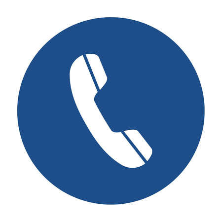 Illustration pour Blue round telephone receiver icon, button isolated on a white background. - image libre de droit