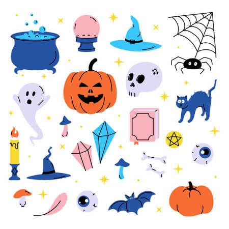 Ilustración de Set vector illustration of trendy cute Halloween trick or treat design elements, such as bat, bones, pumpkins, cats, and more. Perfect for invitations, stickers and packaging. - Imagen libre de derechos