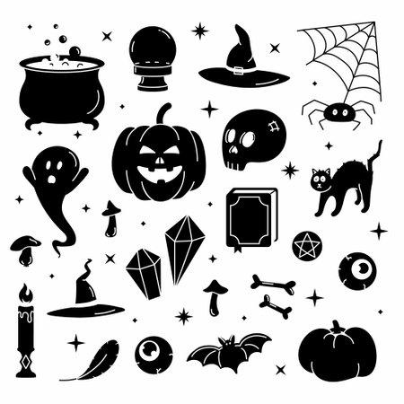 Ilustración de Set black vector illustration of trendy cute Halloween trick or treat design elements, such as bat, bones, pumpkins, cats, and more. Perfect for invitations, stickers and packaging. - Imagen libre de derechos