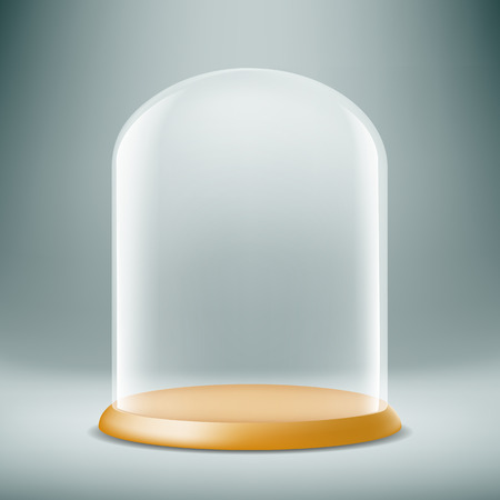Transparent glass dome on a dark background