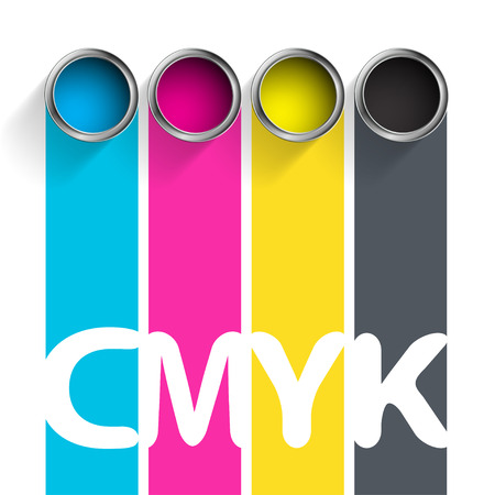 Bucket of paint CMYK. Color scheme for the printing industry. Stock vector illustration.