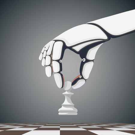 Robot arm holding a chess pawn. Artificial Intelligence. Stock cartoon illustration.