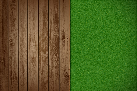 Wooden table with green grass. Garden background. Stock vector illustration.