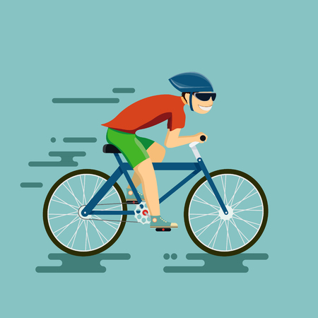 Illustration pour Happy man riding a bike. Vector illustration in the style of flat graphics. - image libre de droit