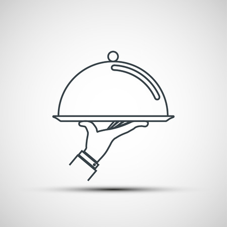 Illustration for Waiter holding empty tray with a cloche. Logo design. Vector icon. - Royalty Free Image