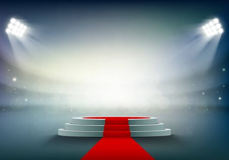 Round stage or podium with a red carpet. Award ceremony at the stadium. Vector illustration