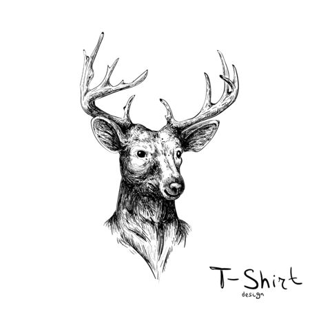 Illustration pour The Vector deer for tattoo or T-shirt design or outwear. Cute print style deer background for canvas - image libre de droit