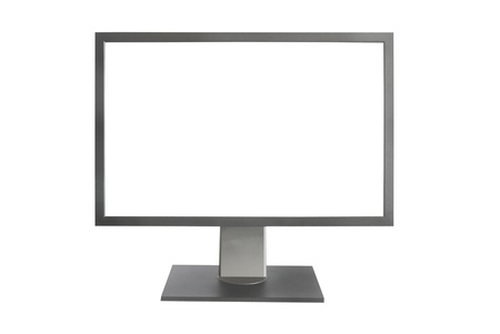 Gray LCD monitor with empty screen isolated on white