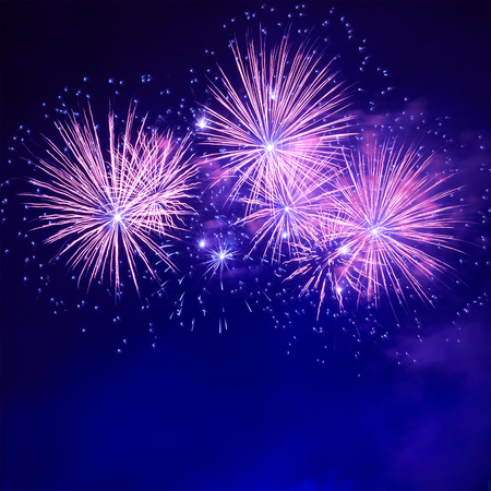 Blue colorful fireworks on the black sky background