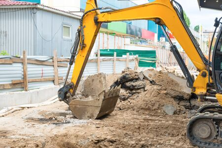 Photo pour Bulldozer at construction site area building a road - image libre de droit