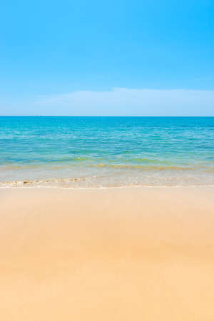 Photo for Blue sea blue water and sand beach with blue sky as summer holiday vacation background - Royalty Free Image