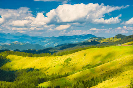 Photo for Green sunny valley in mountains and hills. Nature landscape - Royalty Free Image