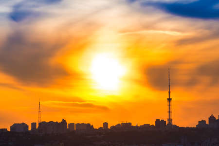 Photo pour Modern city sunset panorama with cityscape and sunset sky - image libre de droit