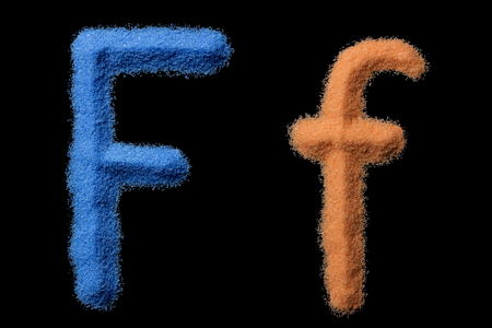 The letters F are made of crushed sand