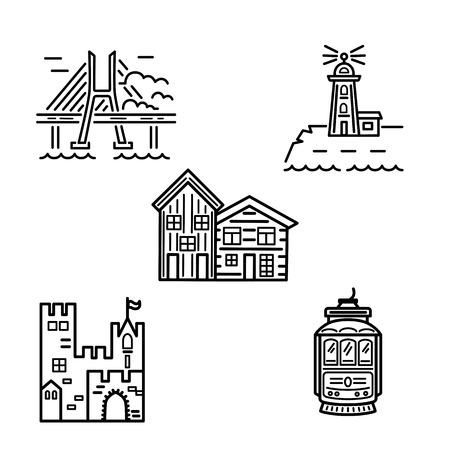 Illustration pour City symbols vector set with casle, lighthouse, houses, brige and tram. Outline style vector illustration. Real estate and travel concept. - image libre de droit