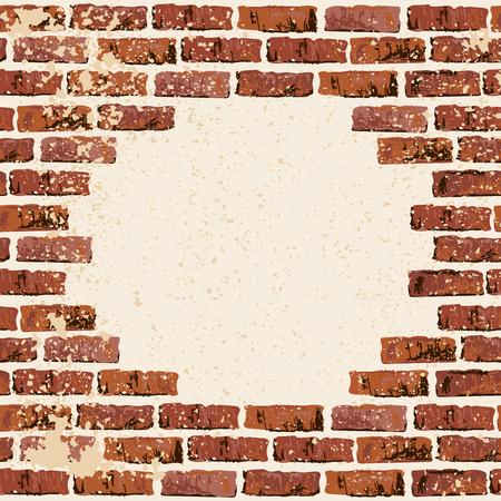 Illustration pour Brick wall vector illustration backgrond. Place for your text. Grunge textured backdrop for banner, lettering, graffiti. - image libre de droit