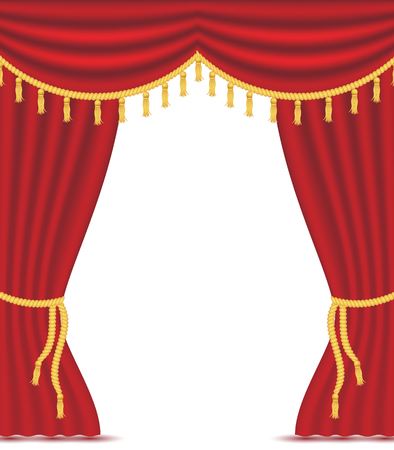 Illustration for Red curtains with drapery, vector illustration isolated on white background. Place for text. design element for theather, show, cinema, banner. - Royalty Free Image