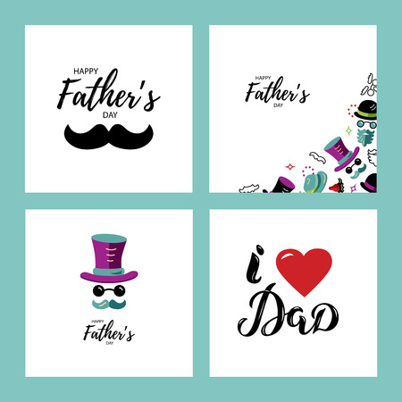 Illustration pour Happy Father's day greeting card set. I love Dad hand drawn lettering. Man face with hat, glasses and mustache. Flat style vector illustration. - image libre de droit
