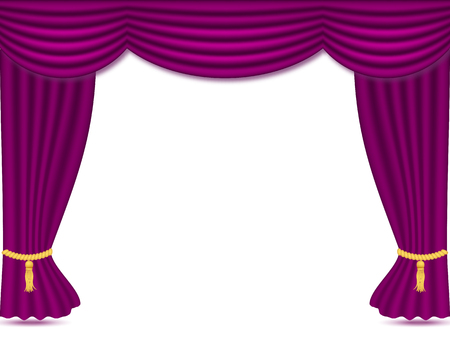Illustration pour Purple curtains with drapery, vector illustration isolated on white background. Place for text. design element for theather, show, cinema, banner. - image libre de droit