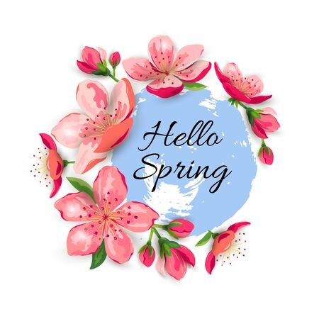 Illustration for Hello Spring with blossom sakura, cherry flowers. Place for text. Great for spring sale, oriental ivite, flyer, beauty offer, wedding, bridal shower, poster, baby shower, Mother and Woman day. - Royalty Free Image
