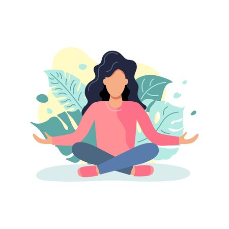 Woman is sitting in a meditative pose. Great for relax, recreation, yoga. Keep balance concept. Flat style design. Vector illustration isolated on white background.