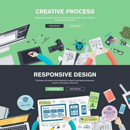 Flat design illustration concepts for creative process, graphic design, web design development, responsive web design, coding, SEO, design agency. Concepts web banner and printed materials.