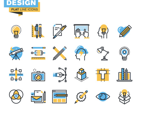 Trendy flat line icon pack for designers and developers. Icons for graphic design, web design and development, photography, industrial design, branding, corporate identity, stationary, product design, for websites and mobile websites and apps.