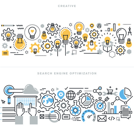 Flat line design vector illustration concepts for creative process workflow, marketing and design agency, website and app design and development, search engine optimization, for website banner.