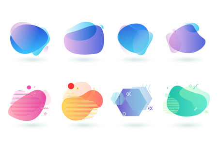 Illustration pour Set of abstract graphic design elements. Vector illustrations for  design, website development, flyer and presentation, background, cover design, isolated on white. - image libre de droit