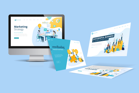 Illustration for Web design template. Vector illustration concept of website design and development, app development, seo, business presentation, marketing. - Royalty Free Image