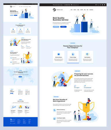 Illustration pour One page website design template. Vector illustration concept for web design and development on the topic of business success, digital services, data analytics, seo. - image libre de droit