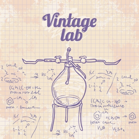 Old chemistry laboratory vector background in vintage style