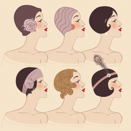 Flapper girls set: Hairstyle, headdress and makeup of 1920s