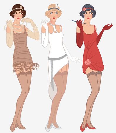 Ilustración de Flapper girls set: three young beautiful women of 1920s in different dresses - Imagen libre de derechos