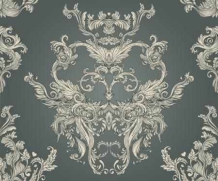 Vintage background ornate baroque pattern, vector illustration