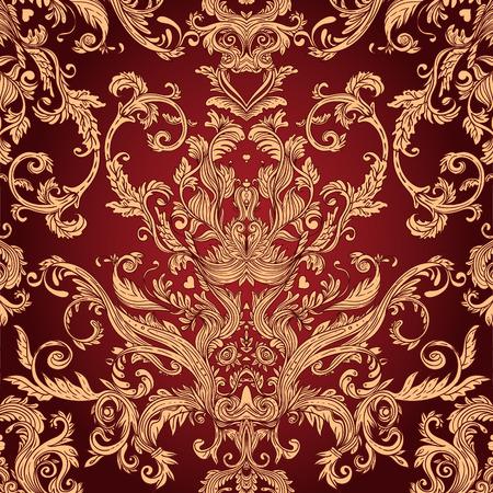 Illustration pour Vintage background ornate baroque pattern, vector illustration - image libre de droit