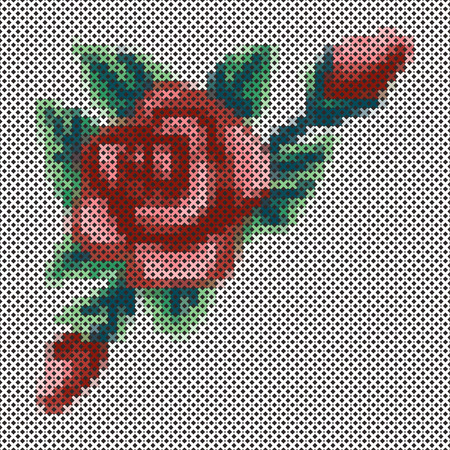 Embroidery, Vintage cross stitch Rose and flower bouquet, antique needlework sewing design isolated on black background.